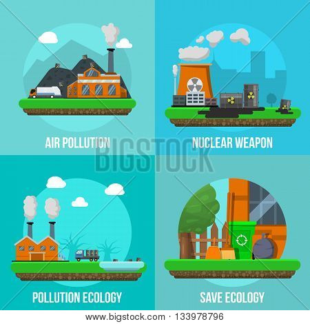 Environmental pollution colored icon set with descriptions of air pollution nuclear weapon pollution ecology and save ecology vector illustration