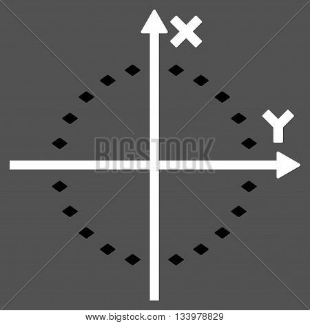Dotted Circle Plot vector toolbar icon. Style is bicolor flat icon symbol, black and white colors, gray background, rhombus dots.