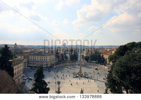 beautiful roman city landscape of rome with historical buildings and Piazza del Popolo