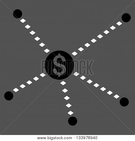 Dotted Financial Links vector toolbar icon. Style is bicolor flat icon symbol, black and white colors, gray background, rhombus dots.