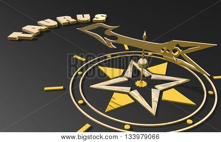The bull astrology sign. Golden compass arrow point to astrological symbol name. 3D rendering