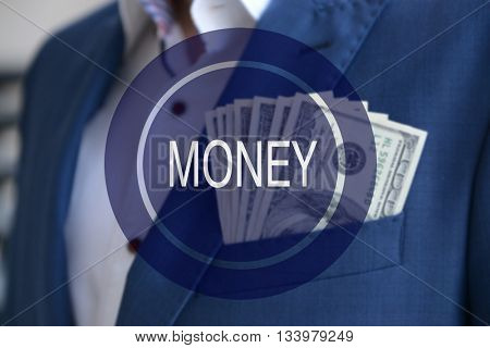 Money icon. Man in a suit with dollar banknotes in pocket