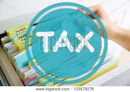 Taxes concept. Hand searching through variety of tax documents in open drawer