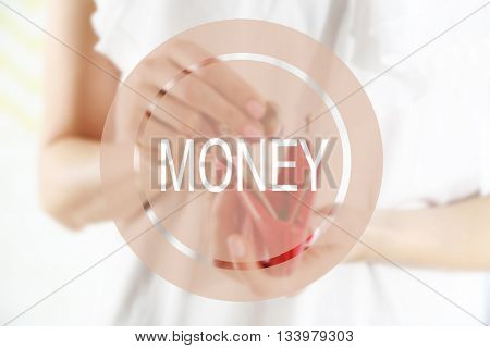 Money icon. Young woman getting euro coin from purse