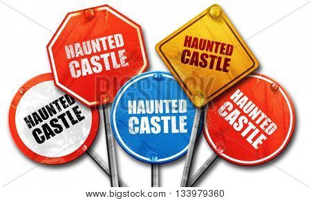 haunted castle, 3D rendering, street signs