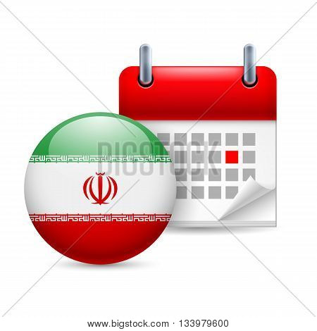 Calendar and round Iranian flag icon. National holiday in Iran
