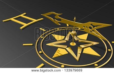 The twins astrology sign. Golden compass arrow point to astrological symbol. 3D rendering