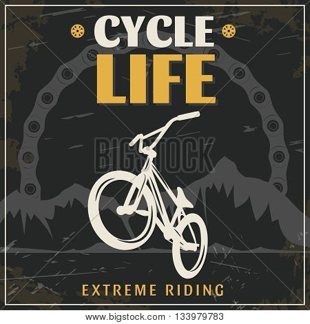 BMX extreme riding vintage poster with white bicycle in center black grey mountains in background vector illustration