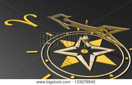 The ram astrology sign. Golden compass arrow point to astrological symbol. 3D rendering