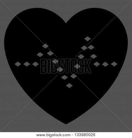 Dotted Heart Pulse vector toolbar icon. Style is flat icon symbol, black color, gray background, rhombus dots.