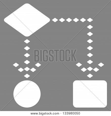 Algorithm Scheme vector toolbar icon. Style is flat icon symbol, white color, gray background, rhombus dots.