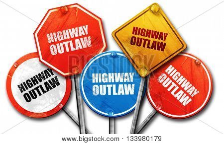 highway outlaw, 3D rendering, street signs