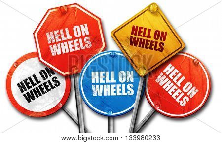 hell on wheels, 3D rendering, street signs