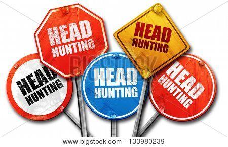 headhunting, 3D rendering, street signs