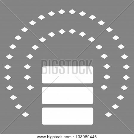 Database Sphere Shield vector toolbar icon. Style is flat icon symbol, white color, gray background, rhombus dots.