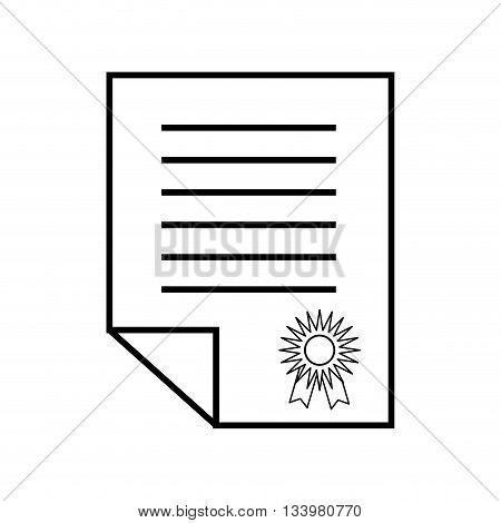 folded certificate sheet with honor stamp linear design , Vector