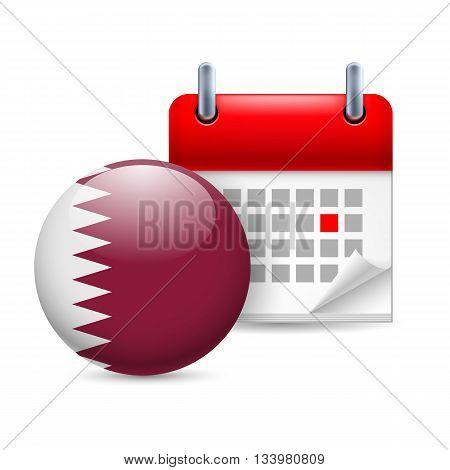 Calendar and round Qatari flag icon. National holiday in Qatar
