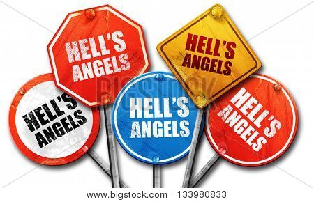 hell's angels, 3D rendering, street signs