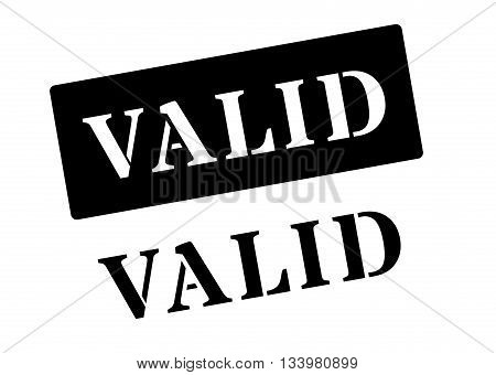 Valid Black Rubber Stamp On White