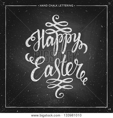 Happy Easter - hand drawn chalk lettering on chalkboard, Happy easter card, Happy Easter text for greeting card, poster, banner, printing, mailing, vector illustration