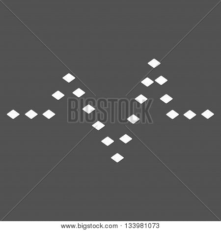 Dotted Pulse vector toolbar icon. Style is flat icon symbol, white color, gray background, rhombus dots.