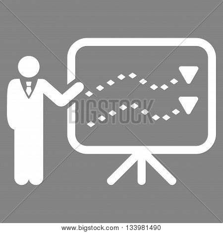 Trends Presentation vector toolbar icon. Style is flat icon symbol, white color, gray background, rhombus dots.