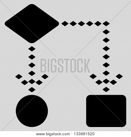Algorithm Scheme vector toolbar icon. Style is flat icon symbol, black color, light gray background, rhombus dots.