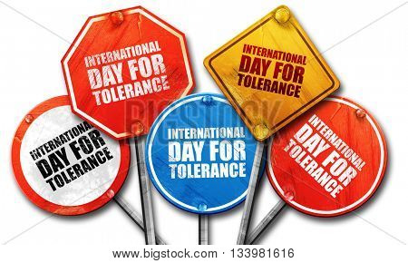 international day for tolerance, 3D rendering, street signs