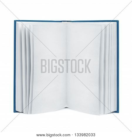Front view of open blank book with textured old paper pages. Isolated with clipping paths on white