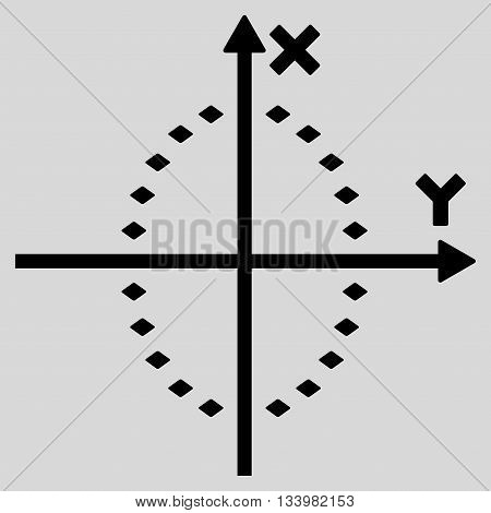 Dotted Ellipse Plot vector toolbar icon. Style is flat icon symbol, black color, light gray background, rhombus dots.