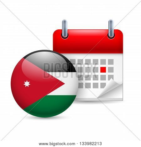 Calendar and round Jordanian flag icon. National holiday in Jordan
