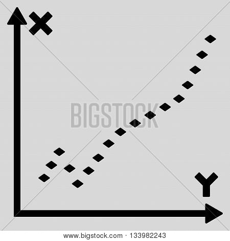 Dotted Function Plot vector toolbar icon. Style is flat icon symbol, black color, light gray background, rhombus dots.
