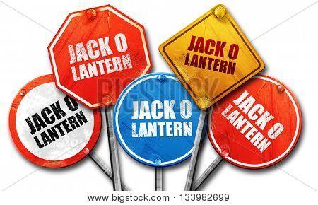 jack o lantern, 3D rendering, street signs
