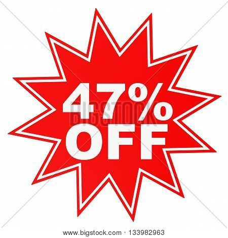 Discount 47 Percent Off. 3D Illustration.