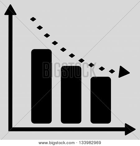 Dotted Negative Trend vector toolbar icon. Style is flat icon symbol, black color, light gray background, rhombus dots.