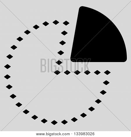 Dotted Pie Chart vector toolbar icon. Style is flat icon symbol, black color, light gray background, rhombus dots.