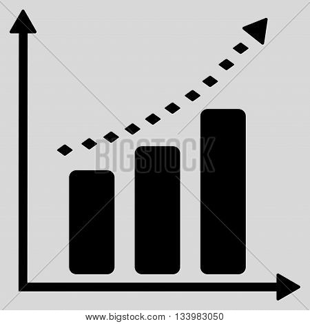Dotted Positive Trend vector toolbar icon. Style is flat icon symbol, black color, light gray background, rhombus dots.