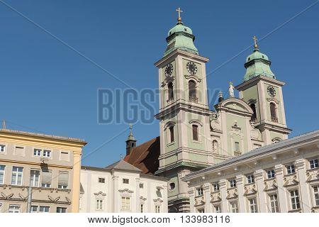 Ignatius Church - old cathedral in the main square in Linz - Austria