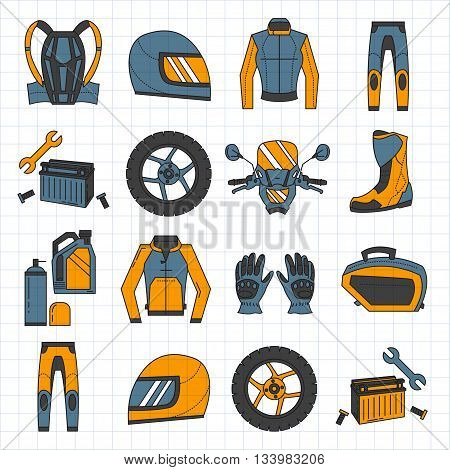 Vector set of linear motorcycle icons Parts and clothes Simple design