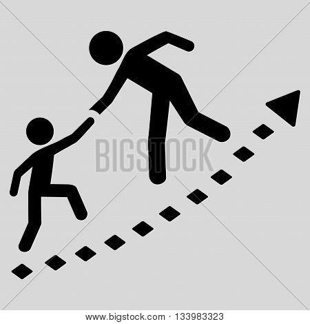 Education Progress vector toolbar icon. Style is flat icon symbol, black color, light gray background, rhombus dots.