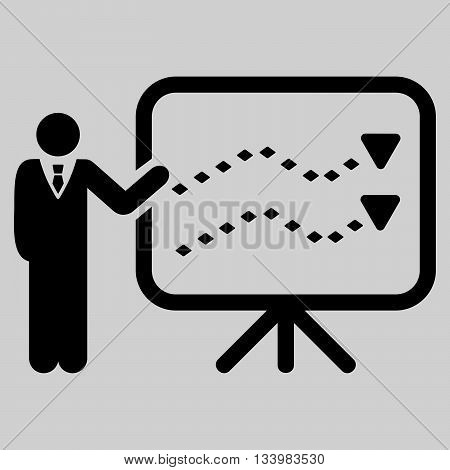 Trends Presentation vector toolbar icon. Style is flat icon symbol, black color, light gray background, rhombus dots.