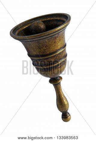 Antique bronze bell isolated on white background