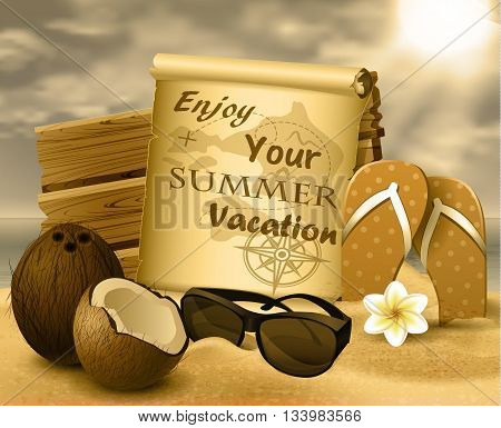 tropical vector background with summer sky and clouds wooden desk old paper coconut flipflops and sunglasses on a sand beach in monochrome