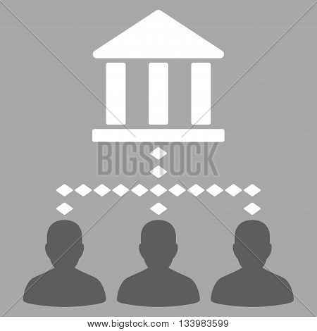 Bank Building Client Links vector toolbar icon. Style is bicolor flat icon symbol, dark gray and white colors, silver background, rhombus dots.