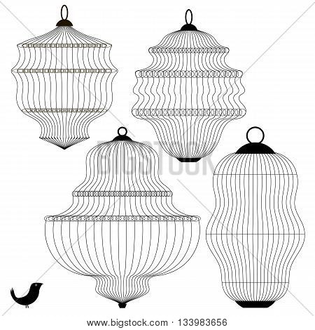 Set of Bird Cages Isolated on White Background