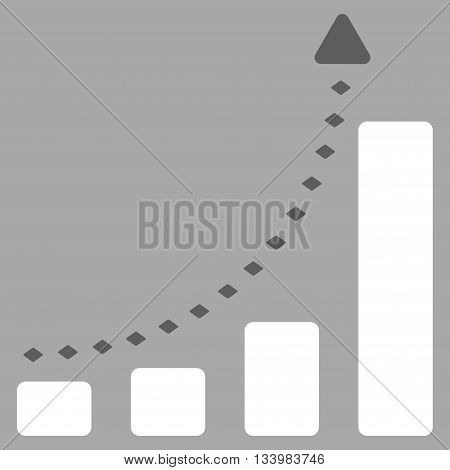 Bar Chart Positive Trend vector toolbar icon. Style is bicolor flat icon symbol, dark gray and white colors, silver background, rhombus dots.