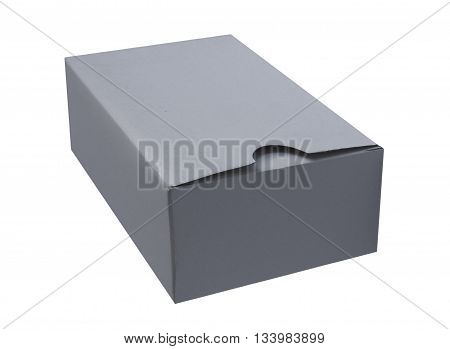 Gray cardboard box isolated on a White background