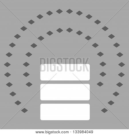 Database Sphere Shield vector toolbar icon. Style is bicolor flat icon symbol, dark gray and white colors, silver background, rhombus dots.