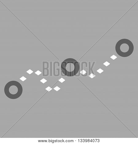 Dotted Chart vector toolbar icon. Style is bicolor flat icon symbol, dark gray and white colors, silver background, rhombus dots.