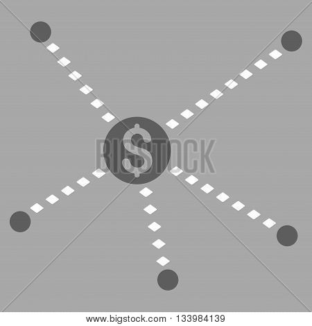 Dotted Financial Links vector toolbar icon. Style is bicolor flat icon symbol, dark gray and white colors, silver background, rhombus dots.